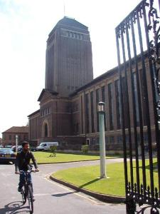 The UL, an imposing red brick building with tower and flanking columned wings.