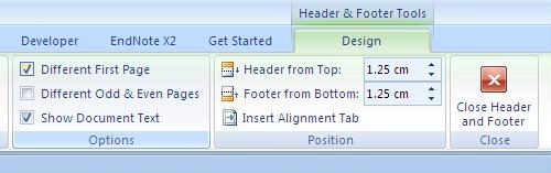 The Design menu is shown with the