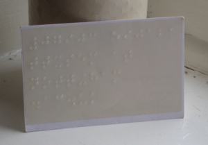 University business card with braille: reverse view.